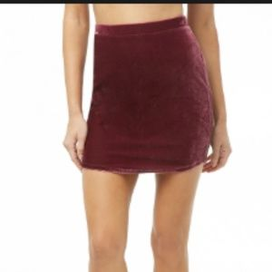 Burgundy wine velvet bodycon skirt
